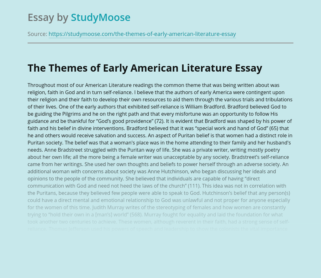 The Themes of Early American Literature