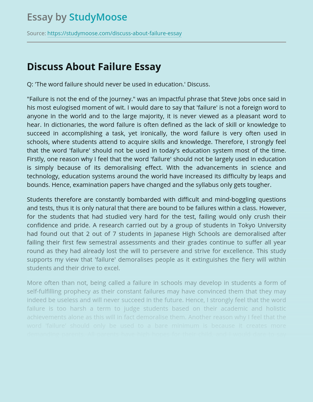 Discuss About Failure