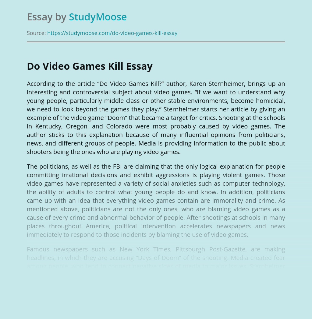 Do Video Games Kill