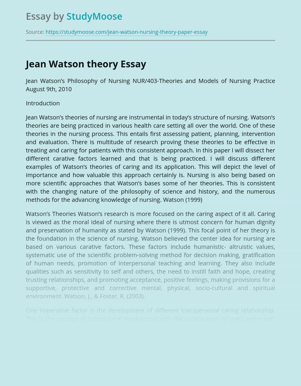 Jean Watson's Theories of Nursing