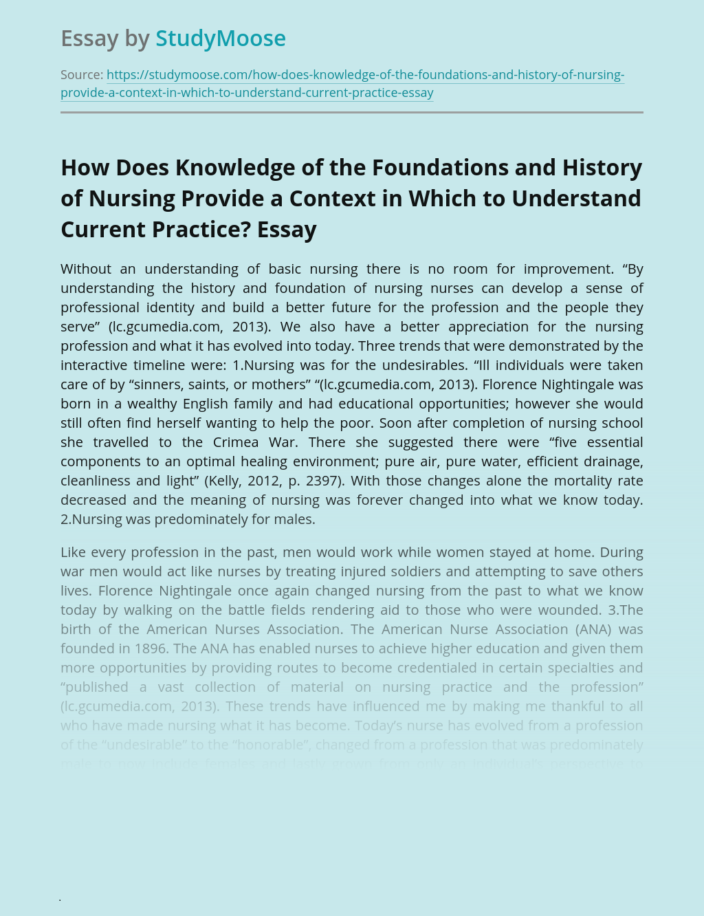 How Does Knowledge of the Foundations and History of Nursing Provide a Context in Which to Understand Current Practice?