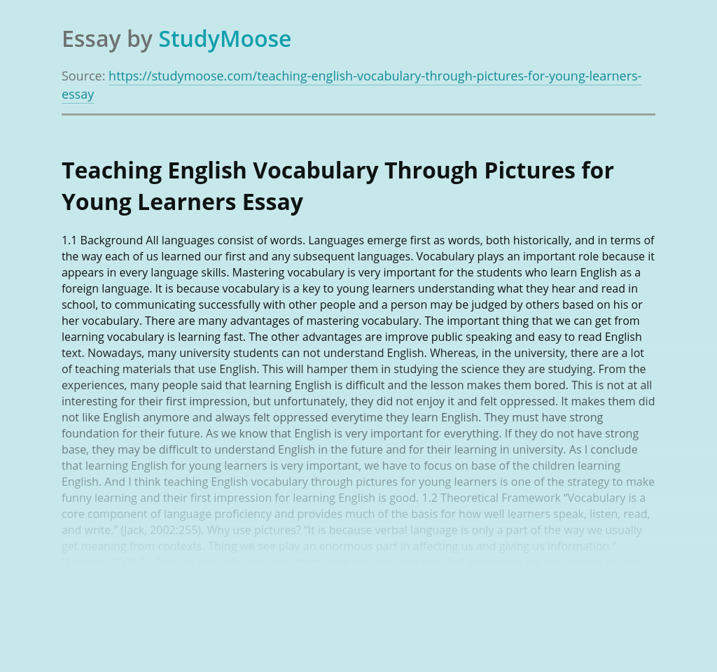 Teaching English Vocabulary Through Pictures for Young Learners