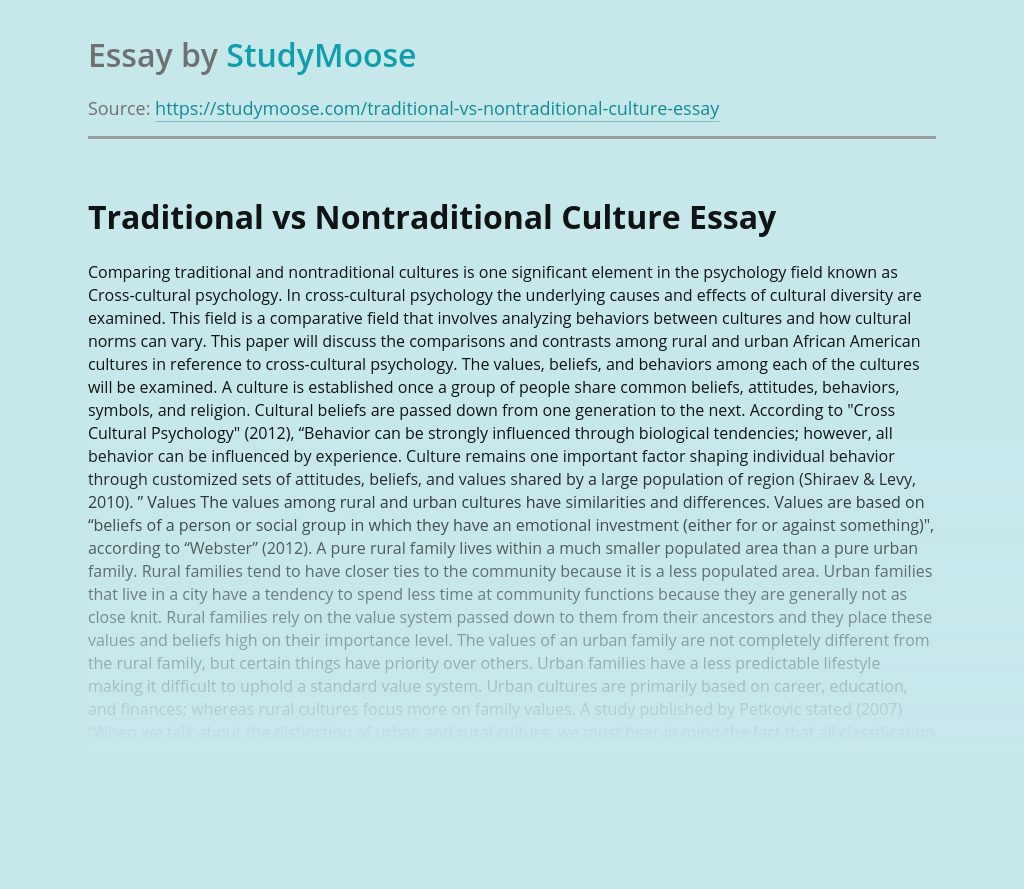 Traditional vs Nontraditional Culture