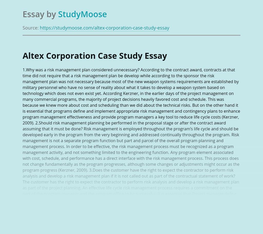 Altex Corporation Case Study