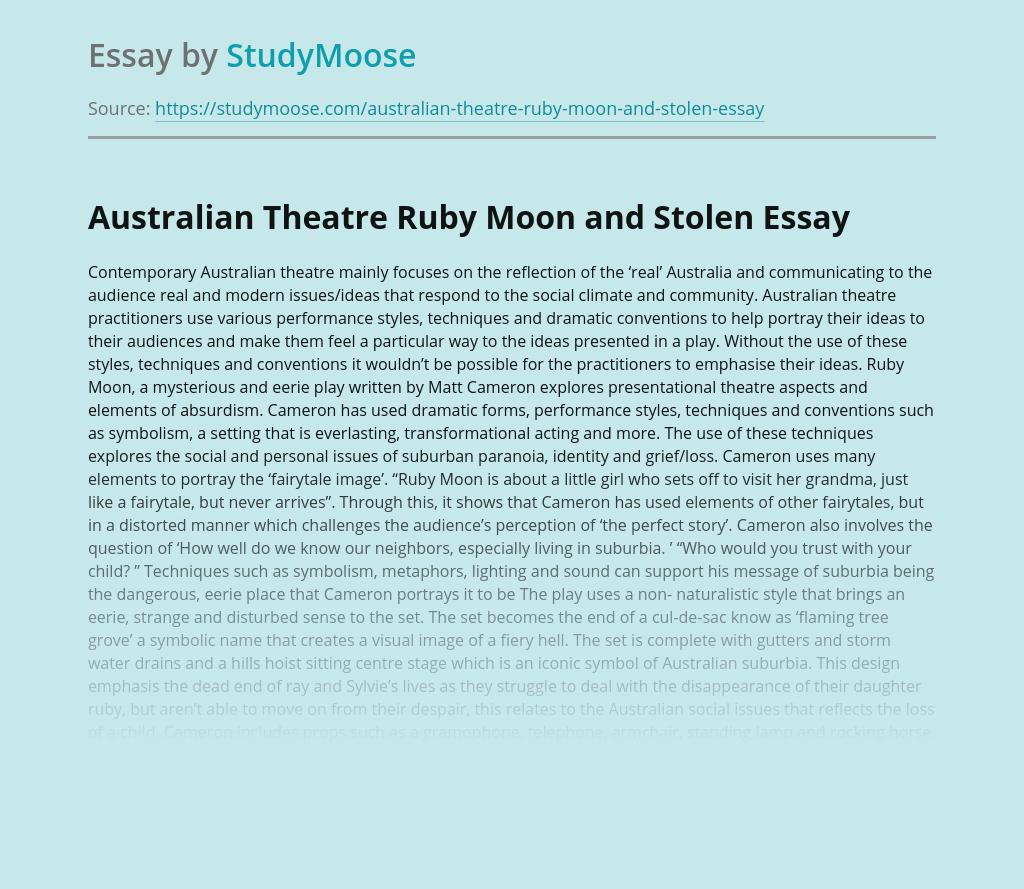 Australian Theatre Ruby Moon and Stolen