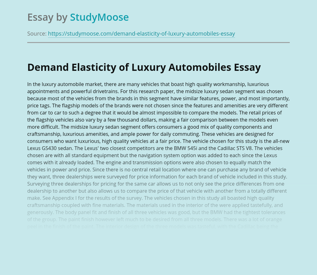 Demand Elasticity of Luxury Automobiles