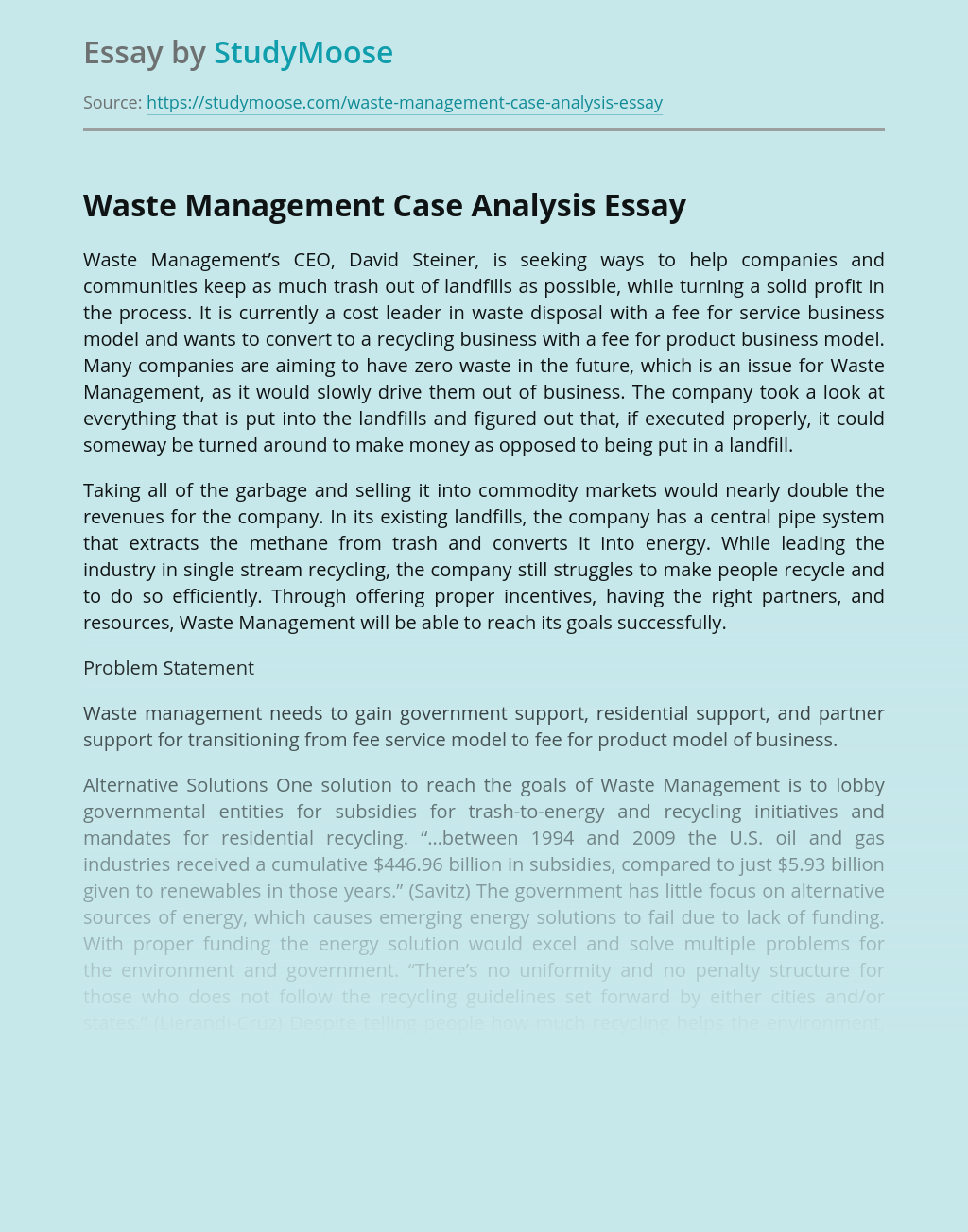 Waste Management Case Analysis