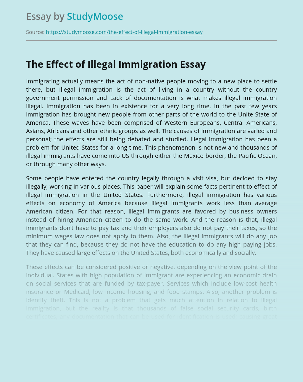 The Effect of Illegal Immigration