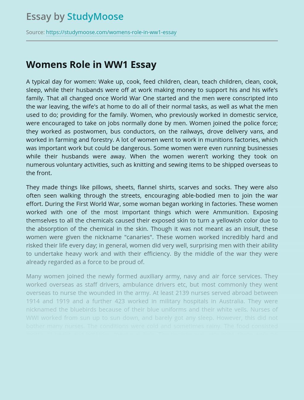 Womens Role in WW1