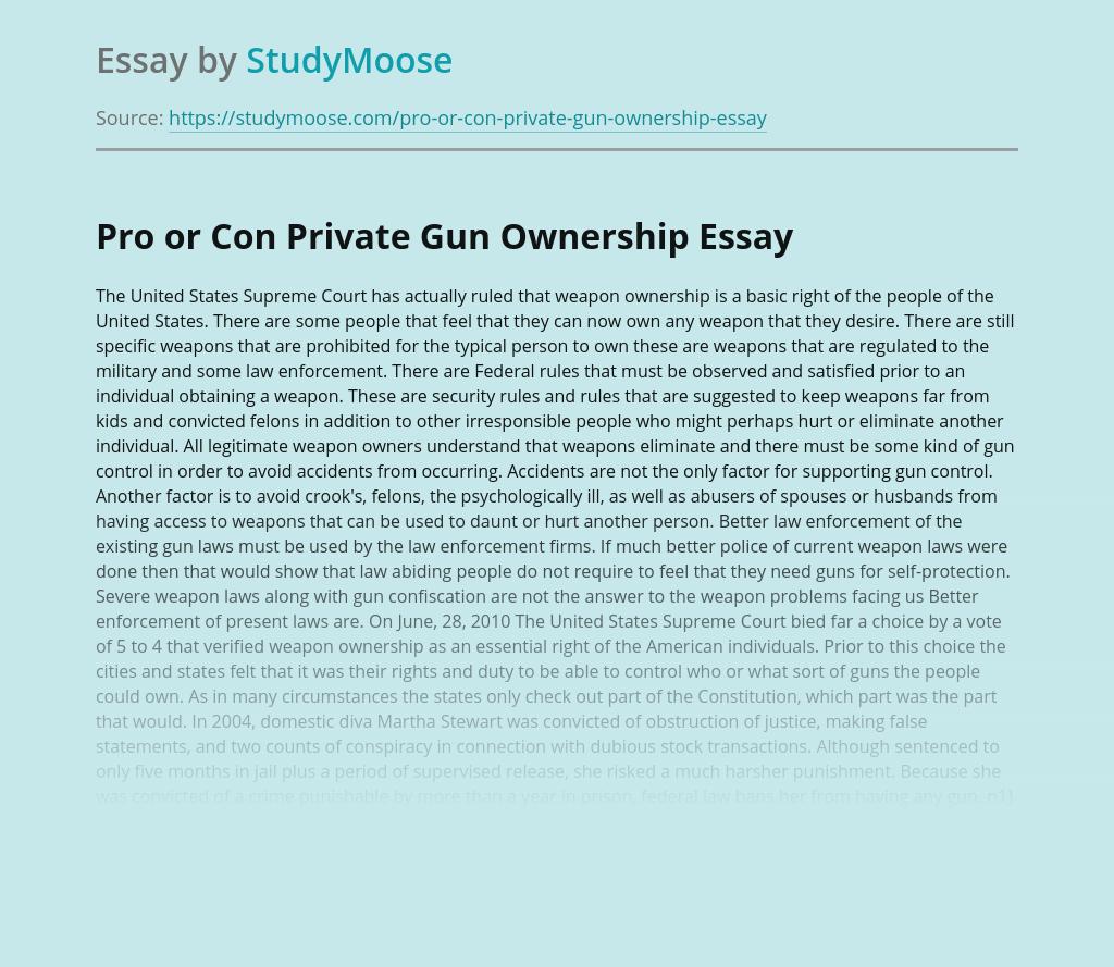 Private Gun Ownership: Pro or Con