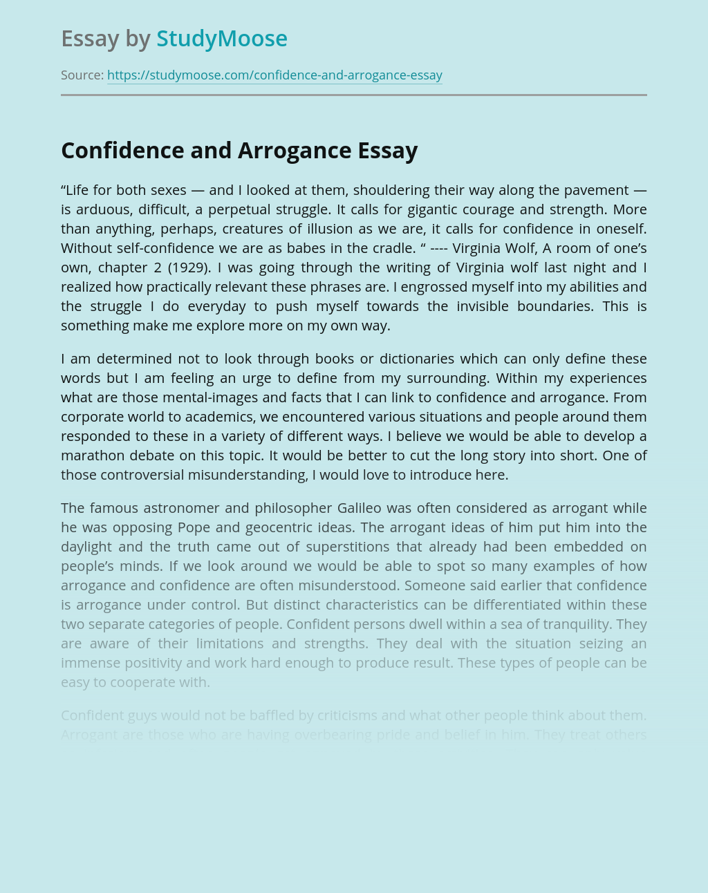 Confidence and Arrogance