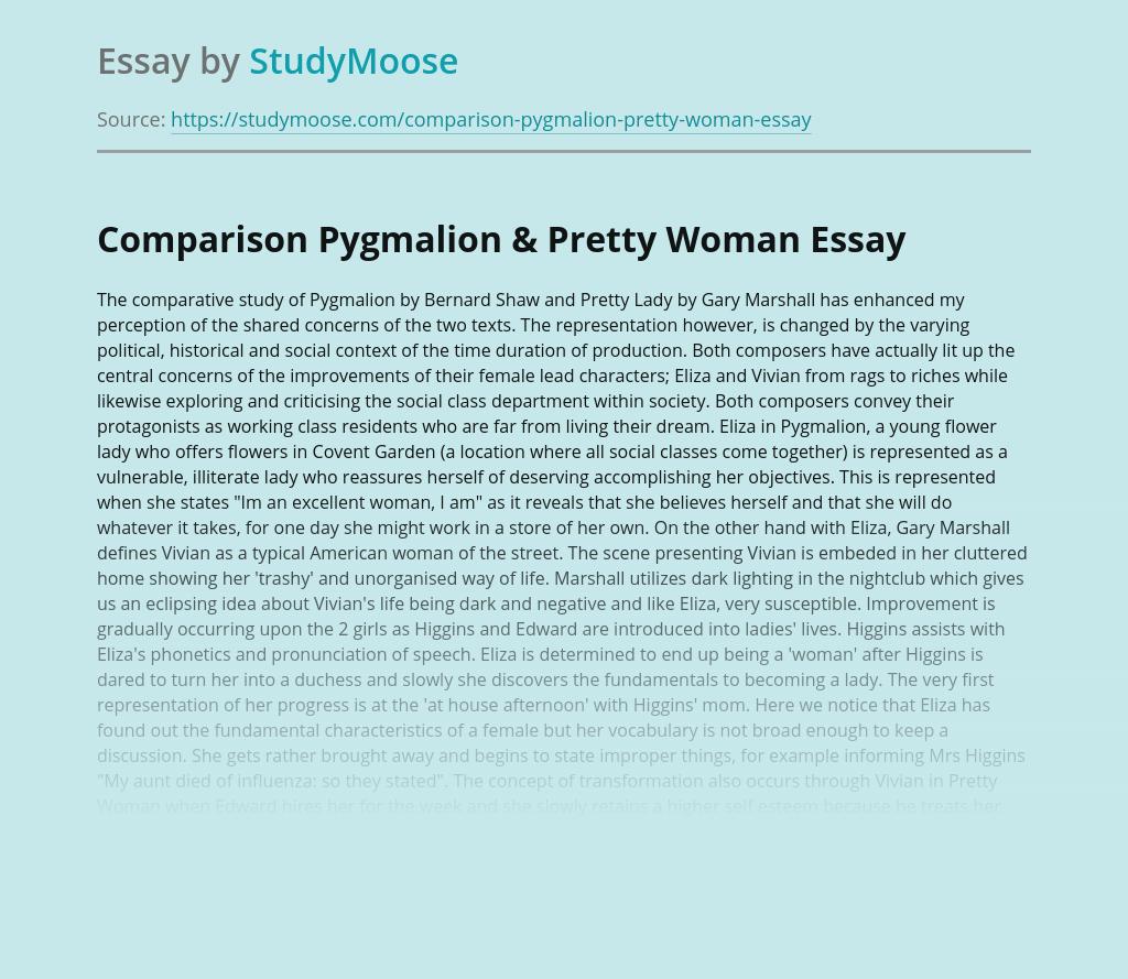 Comparison Pygmalion and Pretty Woman Texts