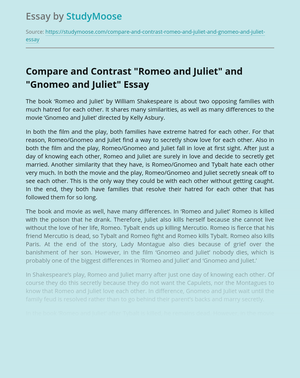 """Compare and Contrast """"Romeo and Juliet"""" and """"Gnomeo and Juliet"""""""