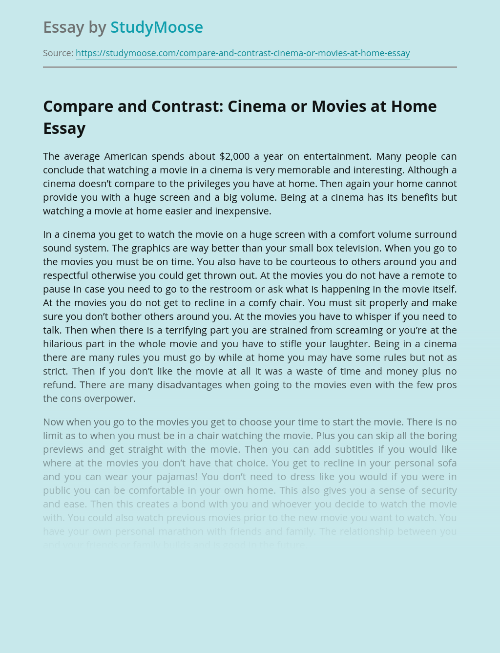Compare and Contrast: Cinema or Movies at Home