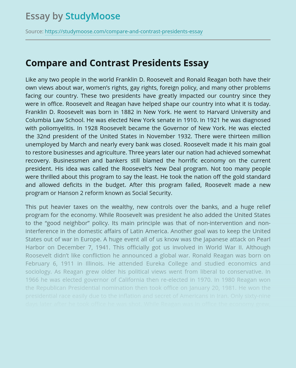 Compare and Contrast Presidents
