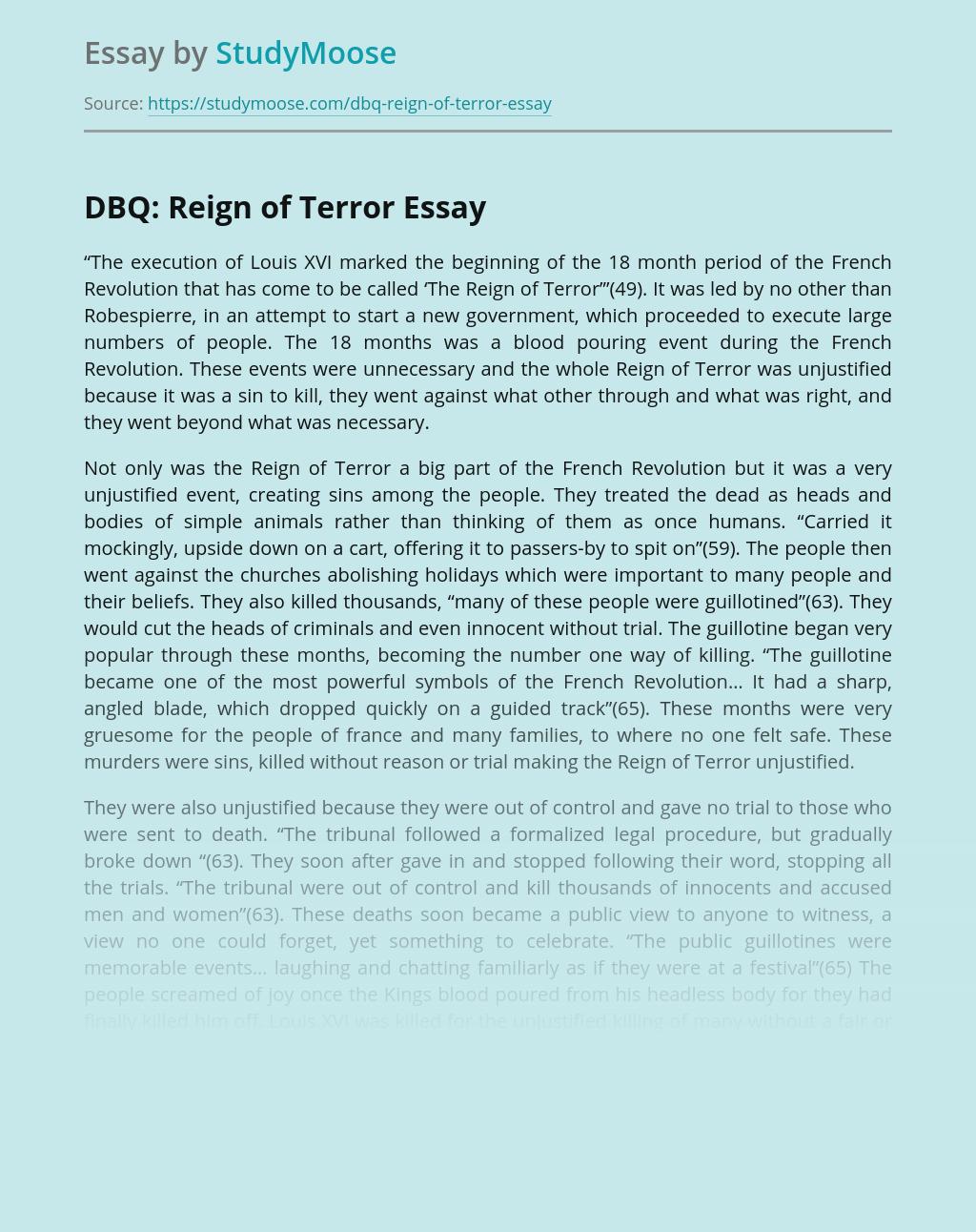 DBQ: Reign of Terror