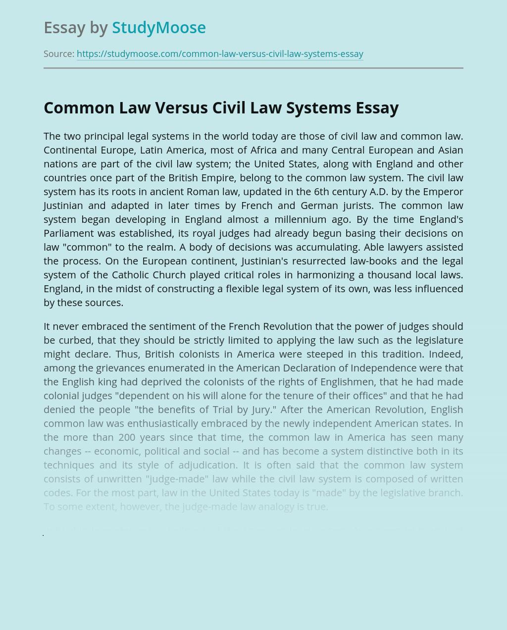Common Law Versus Civil Law Systems