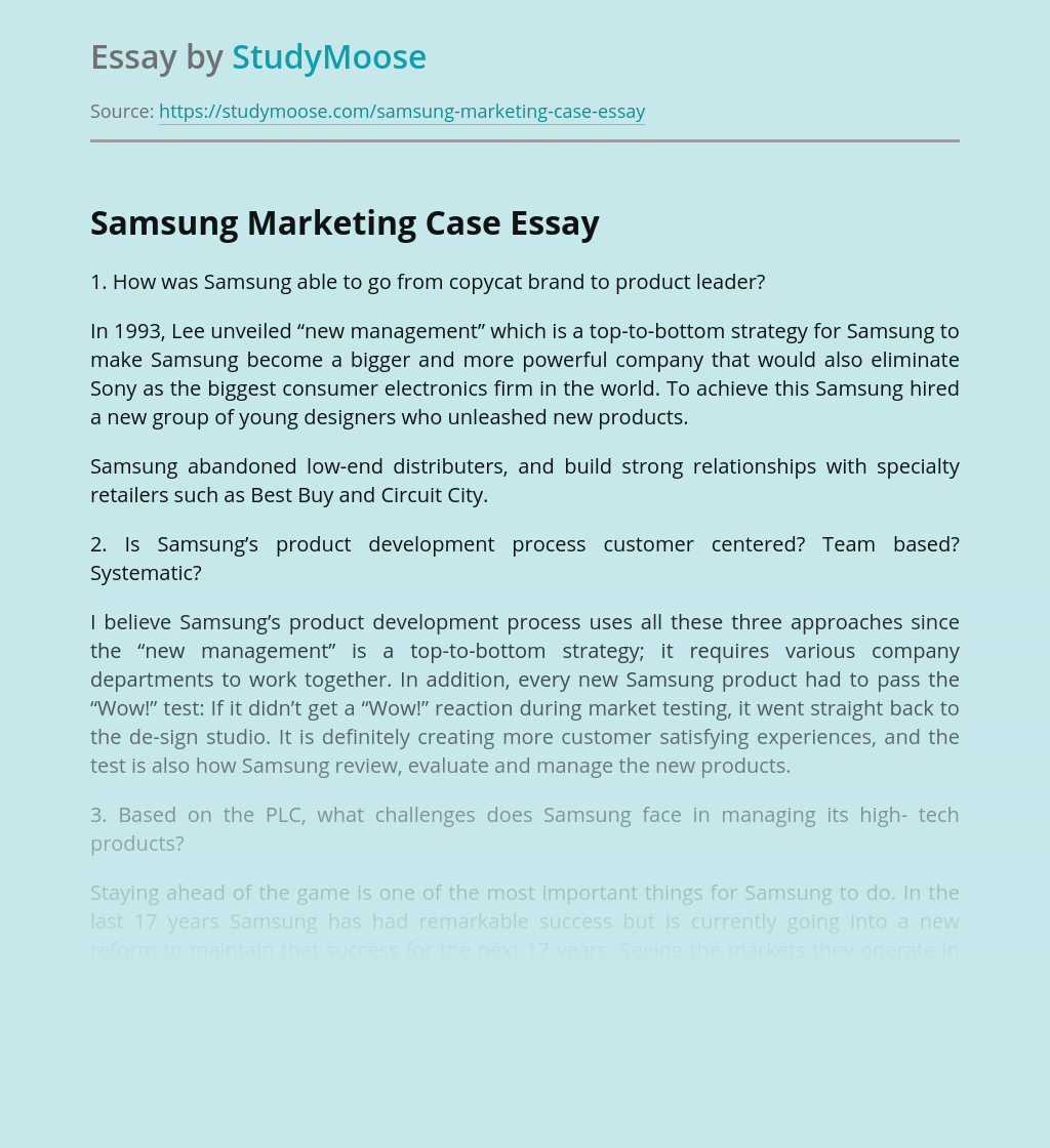 Samsung Marketing Case