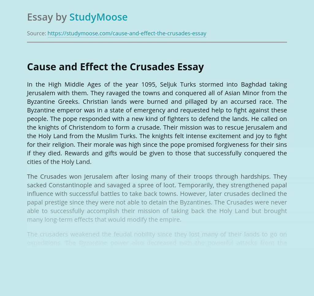 Cause and Effect the Crusades