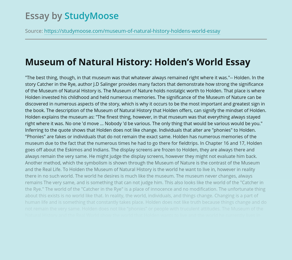 Museum of Natural History: Holden's World