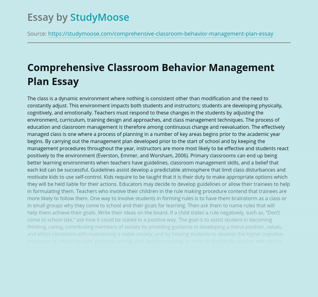 Comprehensive Classroom Behavior Management Plan