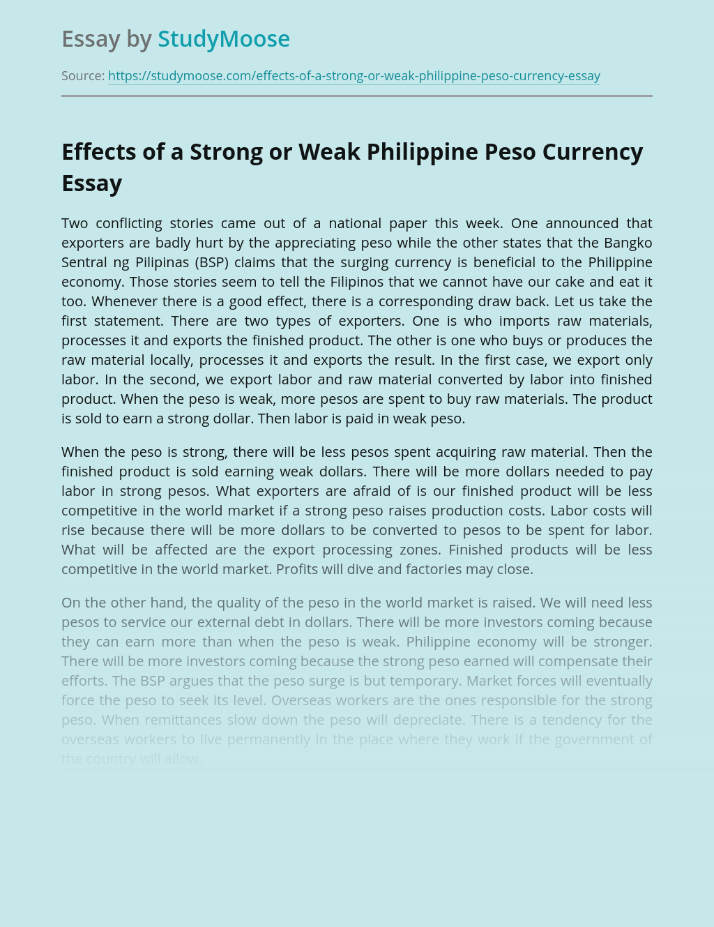 Effects of a Strong or Weak Philippine Peso Currency