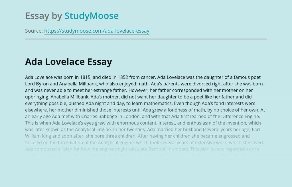 Early age of Ada Lovelace
