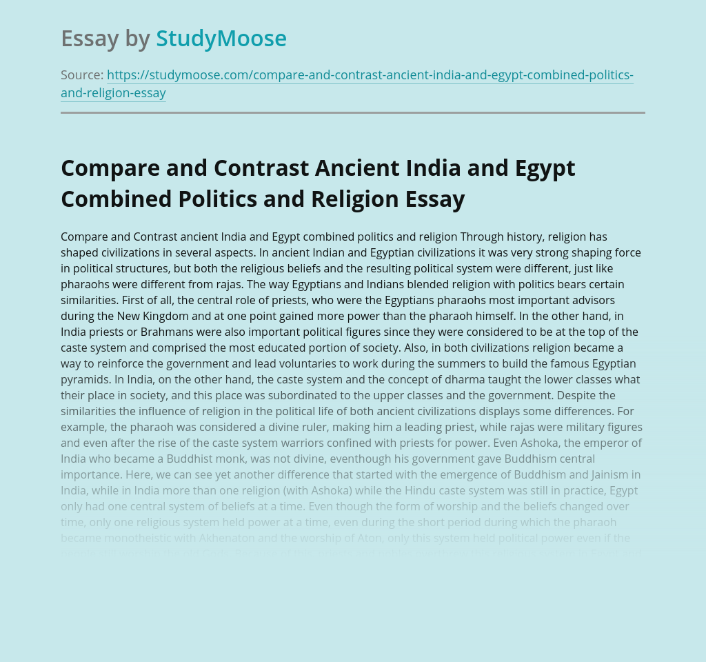 Compare and Contrast Ancient India and Egypt Combined Politics and Religion