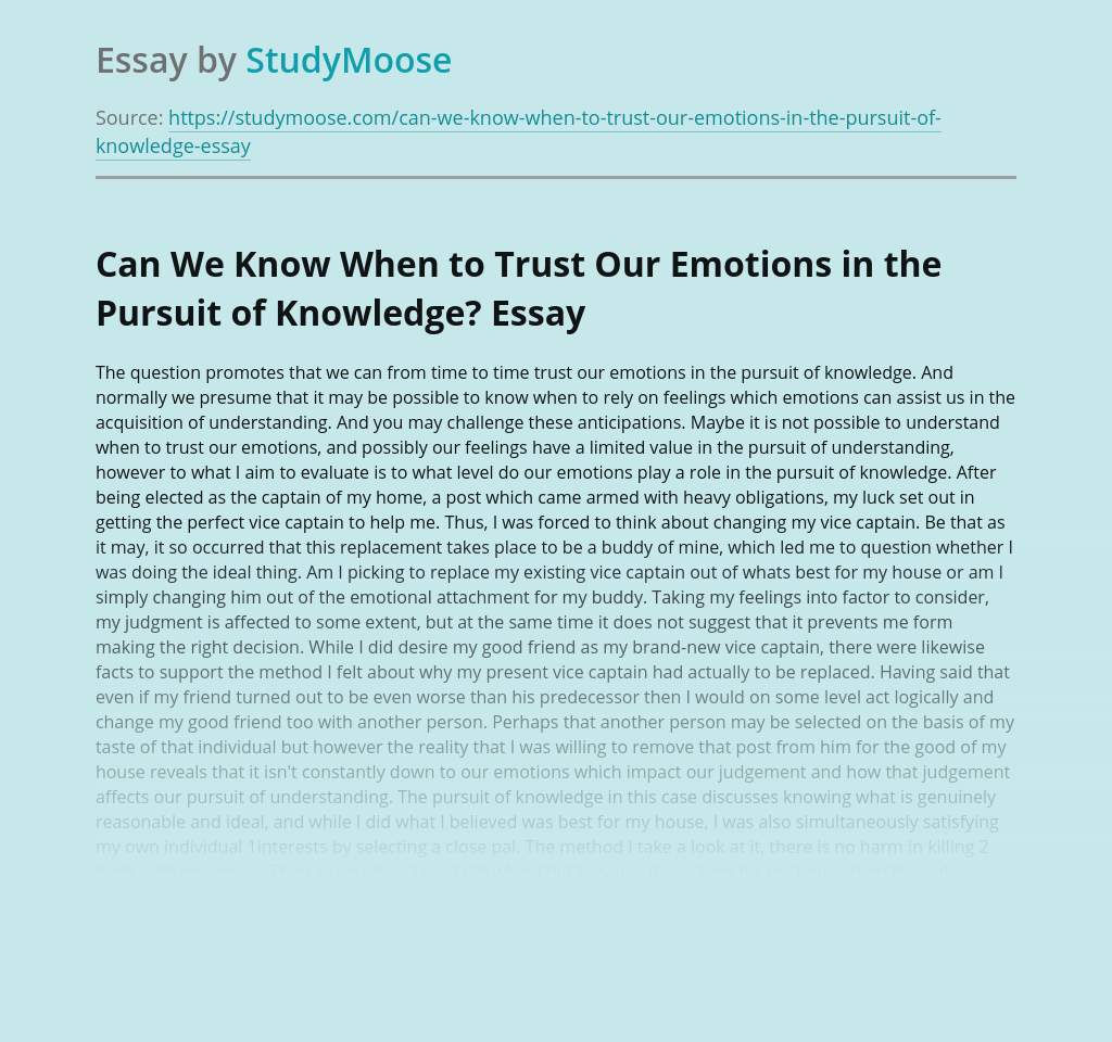 Can We Know When to Trust Our Emotions in the Pursuit of Knowledge?