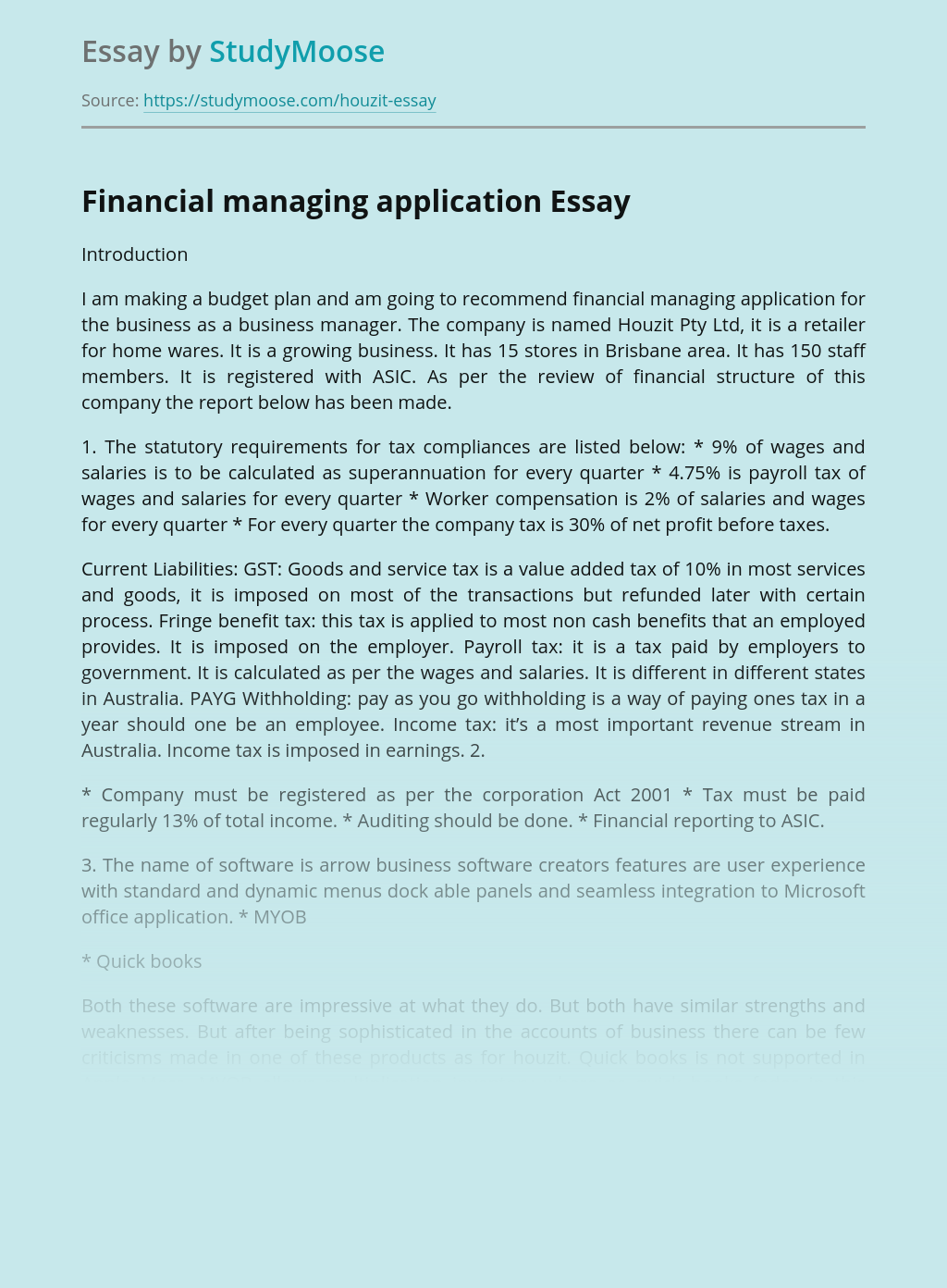Financial Managing Application for the Business