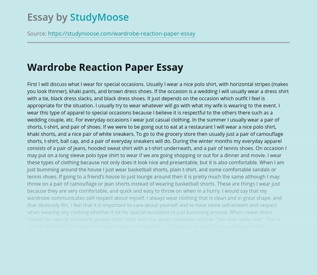 Wardrobe Reaction Paper