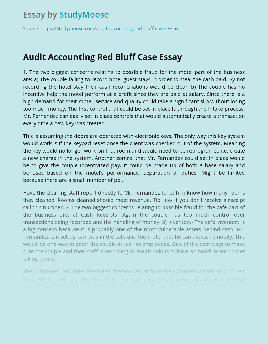 Audit Accounting Red Bluff Case