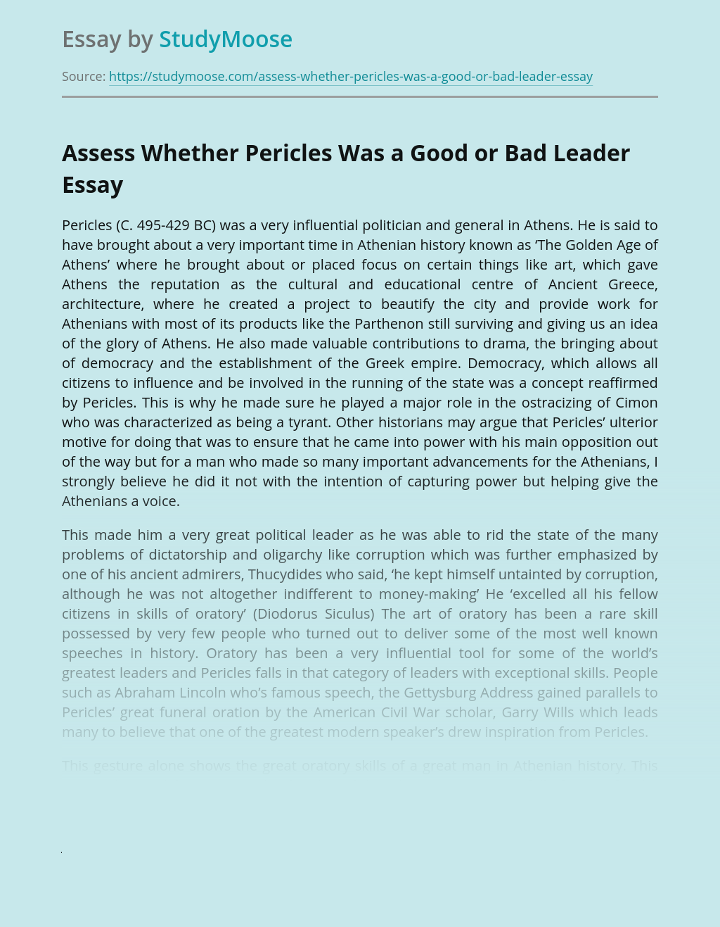 Assess Whether Pericles Was a Good or Bad Leader