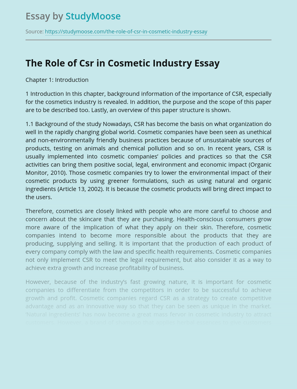 The Role of Csr in Cosmetic Industry