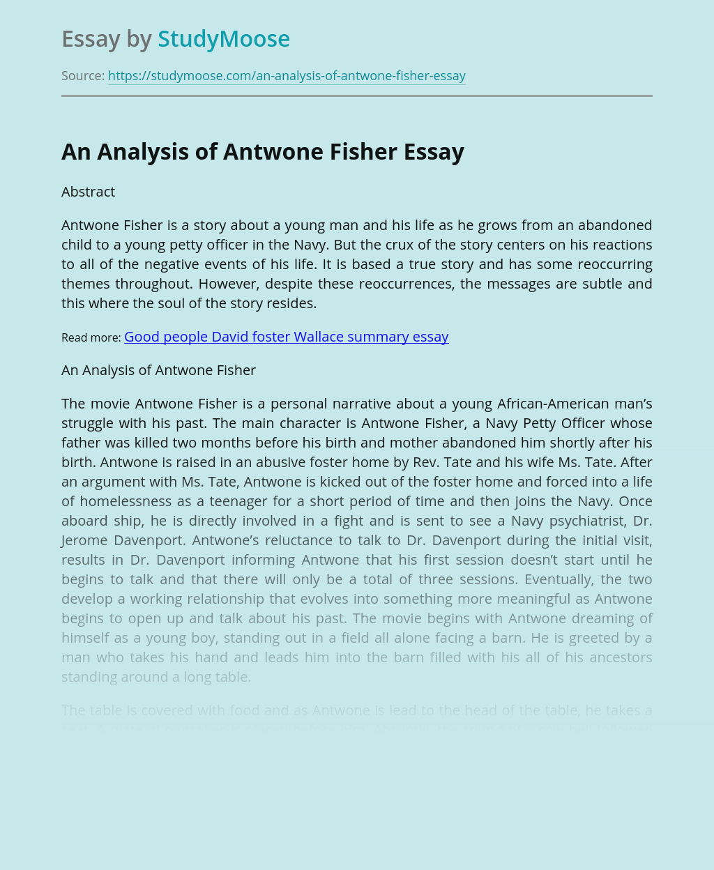 An Analysis of Antwone Fisher