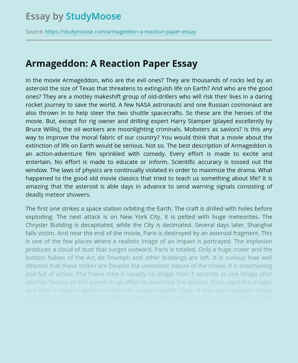 Armageddon: A Reaction Paper