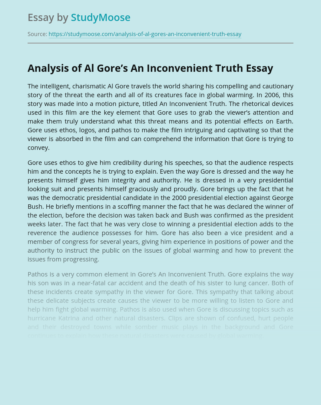 Analysis of Al Gore's An Inconvenient Truth