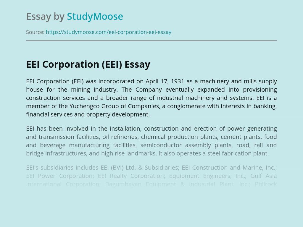 EEI Corporation (EEI)