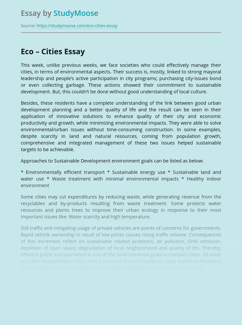 Eco-innovations in Designing Eco-cities