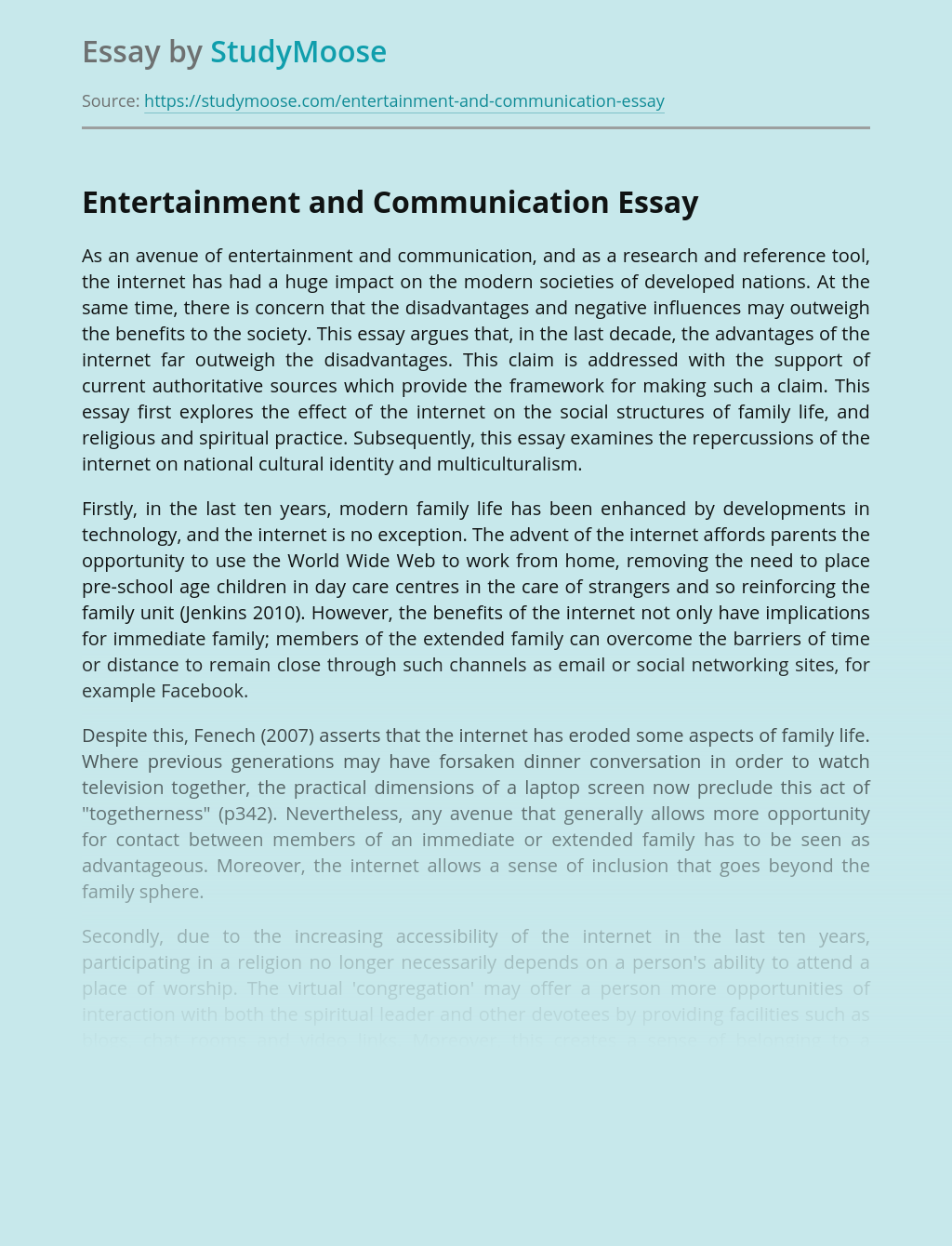 Entertainment and Communication