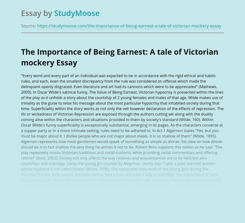 The Importance of Being Earnest: A tale of Victorian mockery