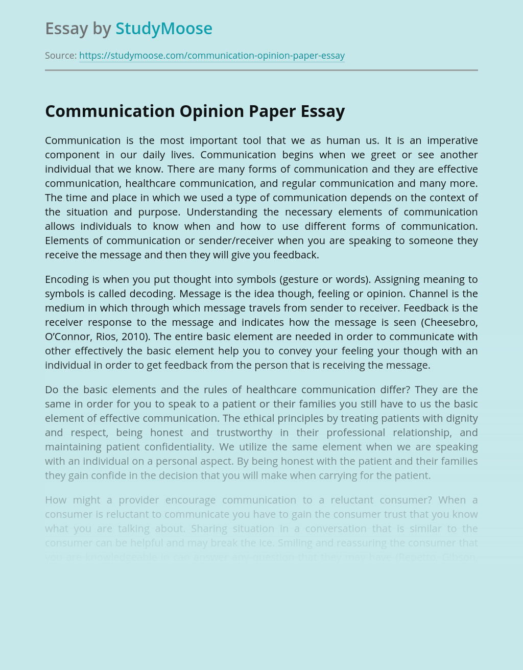 Communication Opinion Paper