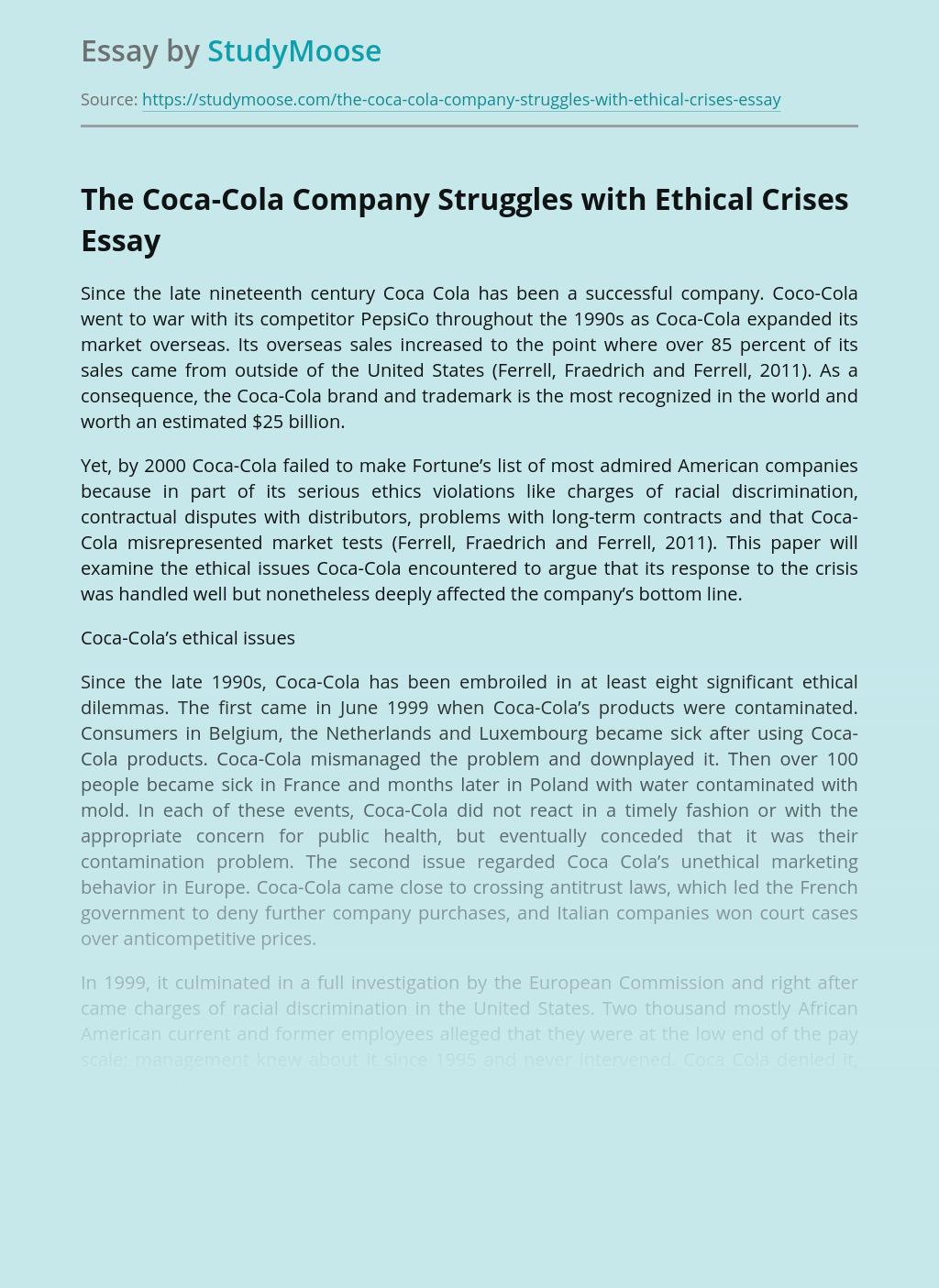 The Coca-Cola Company Struggles with Ethical Crises