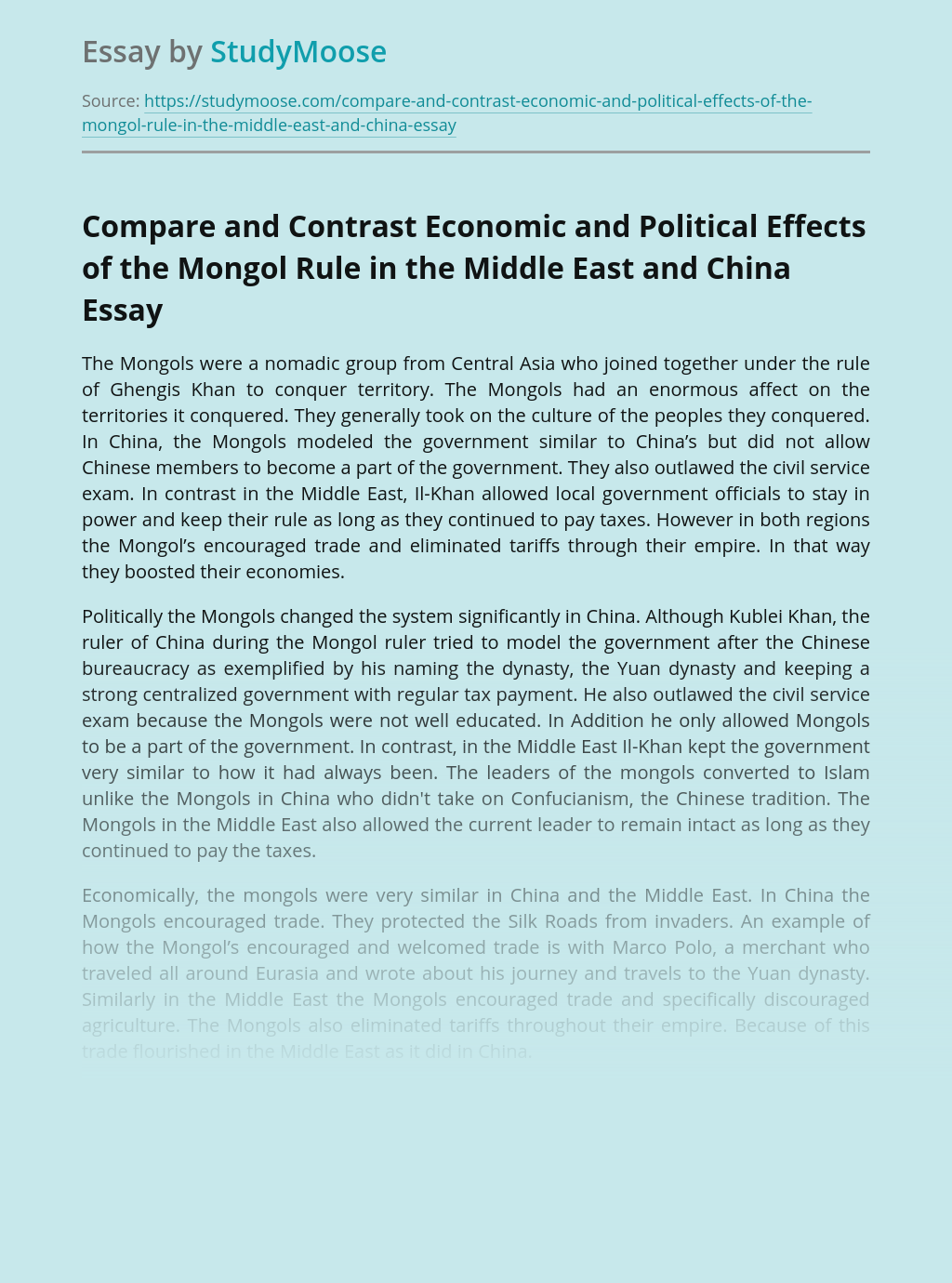 Compare and Contrast Economic and Political Effects of the Mongol Rule in the Middle East and China