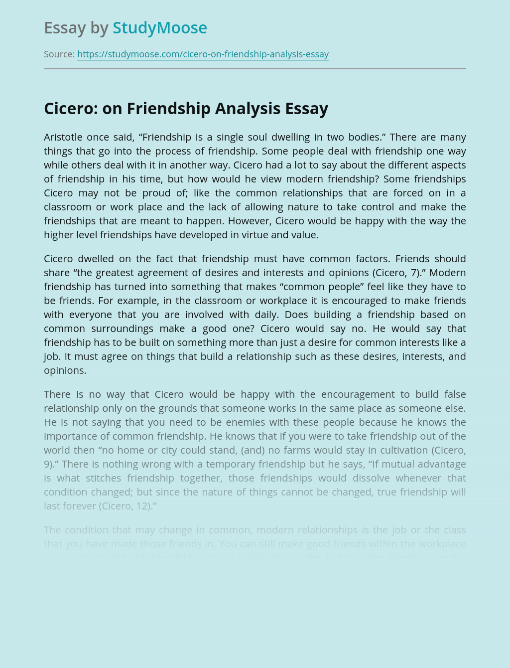 Cicero: on Friendship Analysis