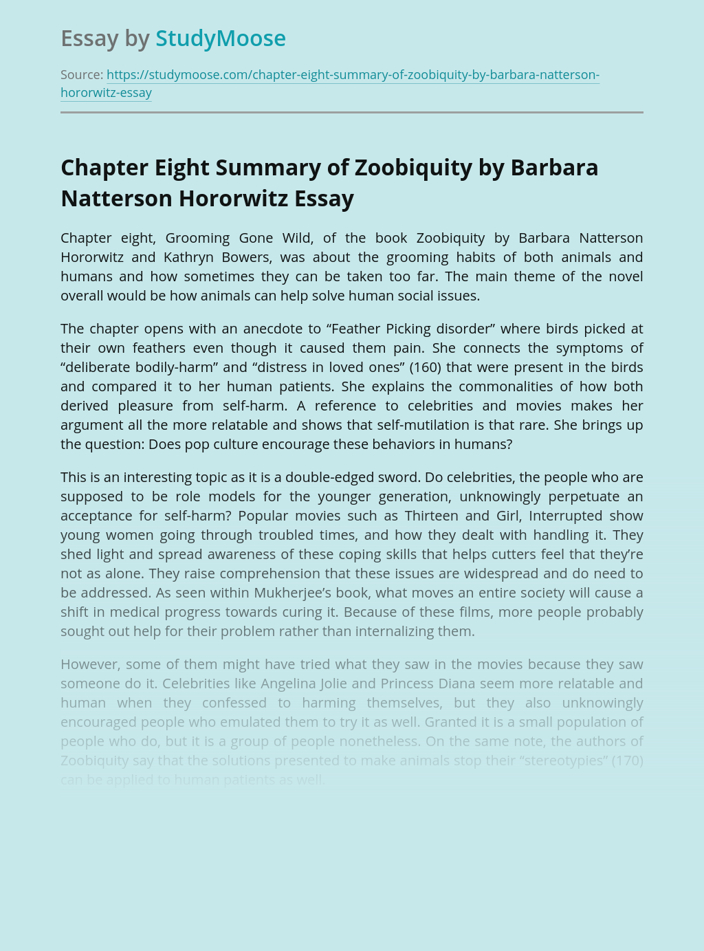 Chapter Eight Summary of Zoobiquity by Barbara Natterson Hororwitz