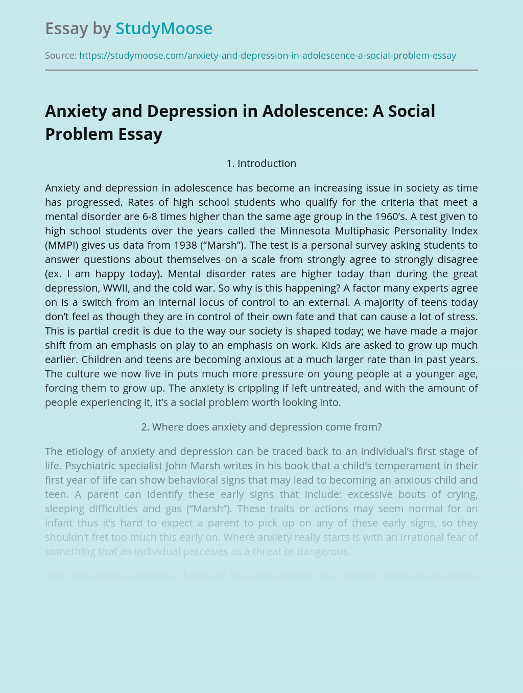 Anxiety and Depression in Adolescence: A Social Problem