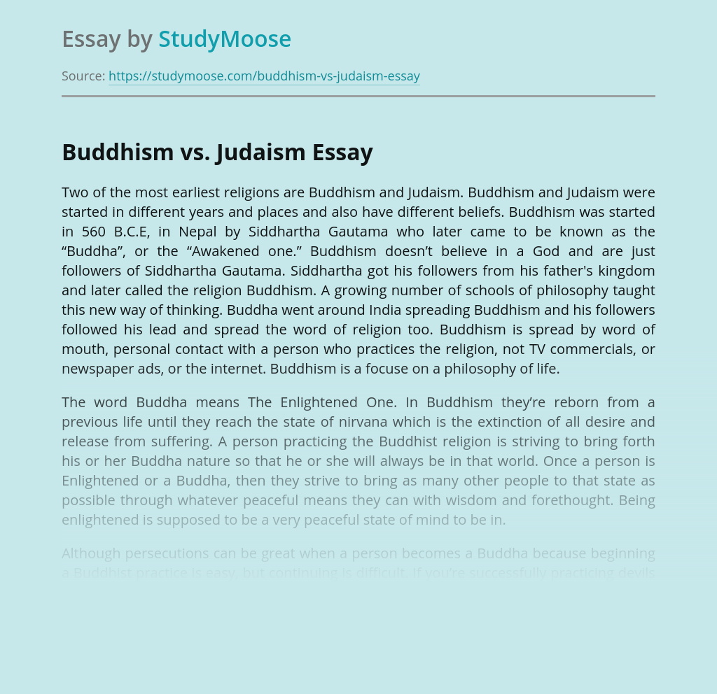 Buddhism vs. Judaism