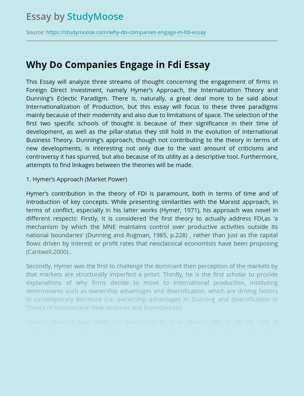 Why Do Companies Engage in Fdi