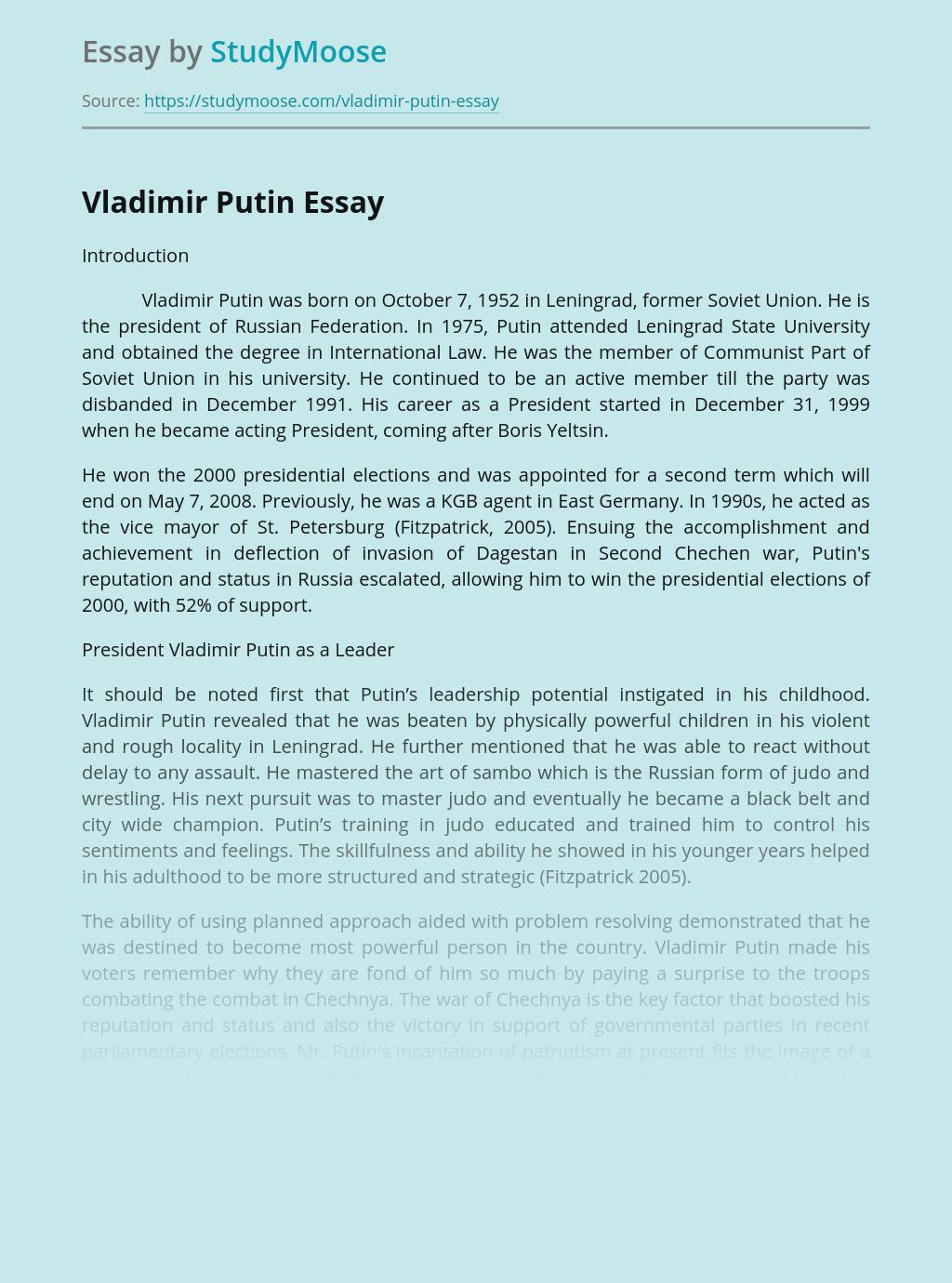 Famous Person - Vladimir Putin